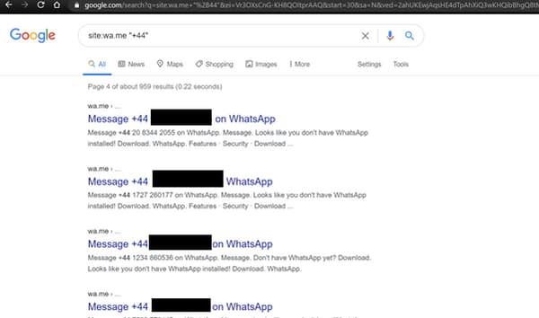 Une simple recherche Google pouvait renvoyer à des numéros WhatsApp.