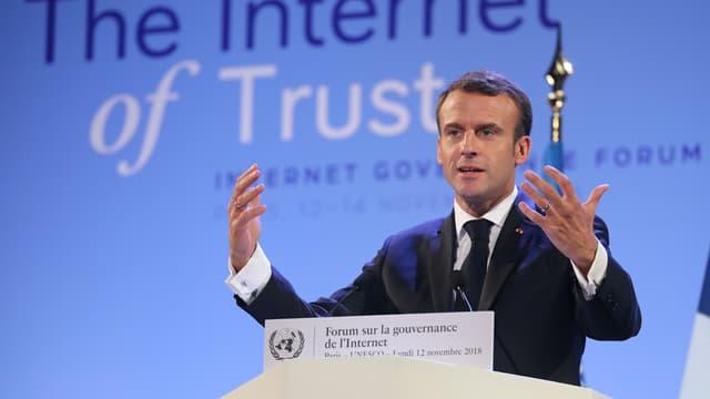 Emmanuel Macron à l'Unesco, à Paris, le 12 novembre 2018.