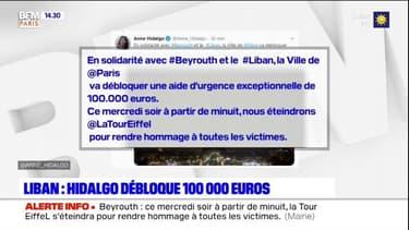 Explosions à Beyrouth: Anne Hidalgo débloque 100.000 euros
