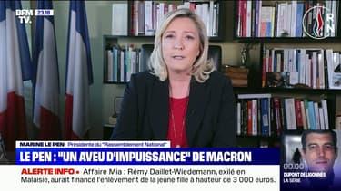 """Pour Marine Le Pen, les propos d'Emmanuel Macron sur la sécurité sont """"un aveu d'impuissance"""""""
