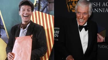 """Dick Van Dyke sur le tournage de """"Mary Poppins"""" (à gauche) et aux British Academy Britannia Awards (à droite)"""