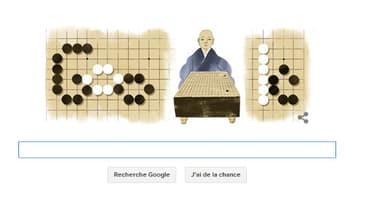 """Google consacre un Doodle  à Honinbo Shusaku, qui a décroché le titre de """"Saint du Go""""."""