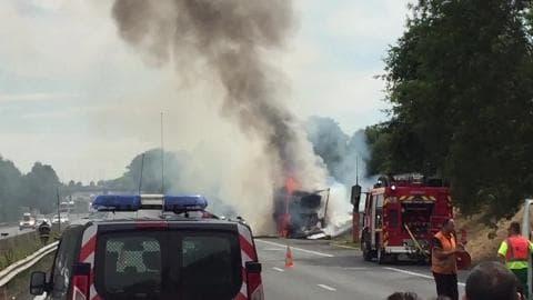 Camion en feu sur l'A1 - Témoins BFMTV