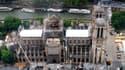 Photographie aérienne des travaux de la cathédrale Notre-Dame-de-Paris prise le 12 juin 2019.