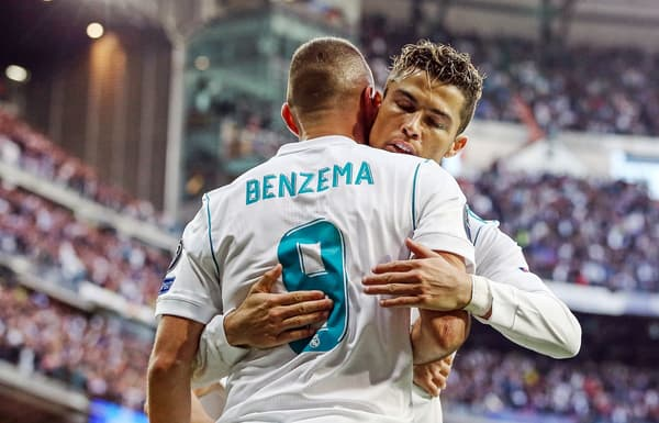 Karim Benzema (de dos) et Cristiano Ronaldo en 2018 au Real Madrid