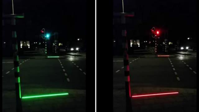 La ligne s'allume en vert quand les piétons peuvent traverser, en rouge lorsque les voitures ont la priorité.