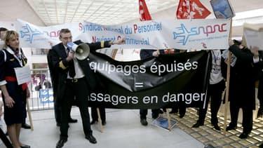 A l'aéroport Roissy-CDG en 2013, lors d'une grève des pilotes et membres d'équipage.