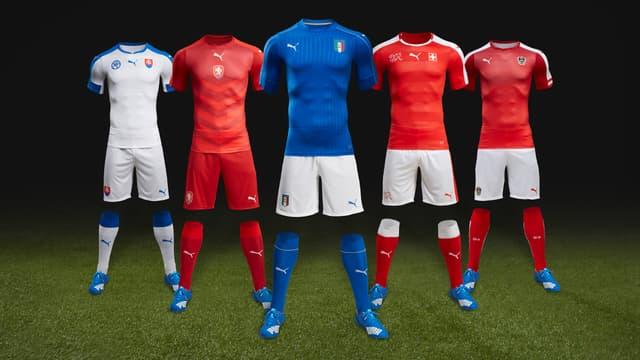 Les maillots domicile de la Slovaquie, la République Tchèque, l'Italie, la Suisse et l'Autriche