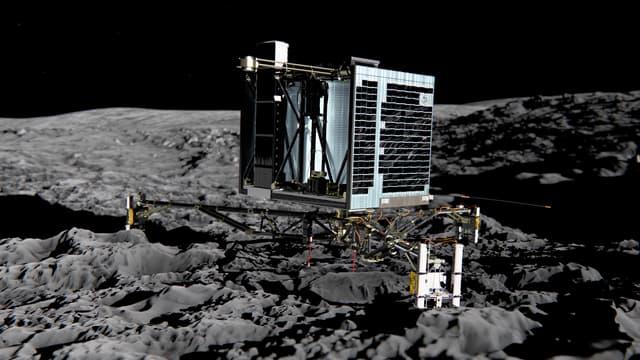 Une simulation de l'atterrissage du robot Philae sur la surface de la comète Tchouri.