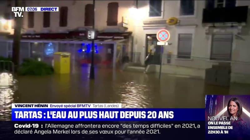 Tempête Bella: la ville de Tartas, dans les Landes, en proie à d'importantes inondations