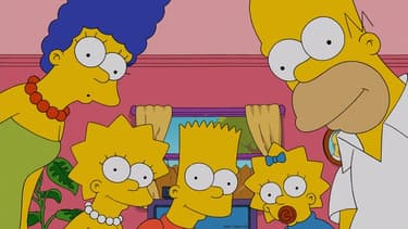 Marge, Lisa, Bart, Maggie et Homer Simpson.