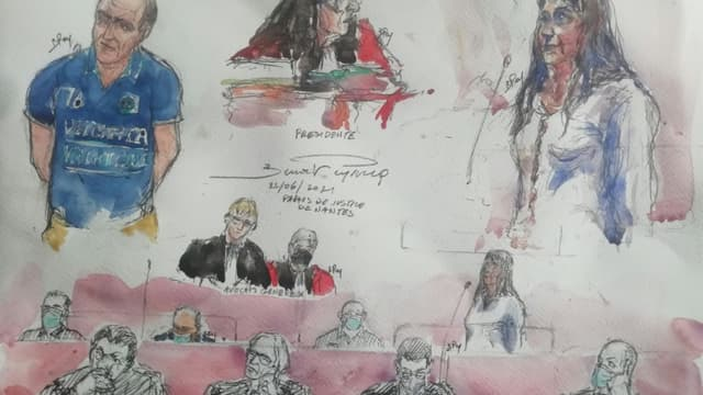 Croquis d'audience montrant le principal accusé de l'affaire Troadec Hubert Caouissin (g) et sa co-accusée Lydie Troadec (d) ainsi que d'autres protagonistes du procès qui s'est ouvert devant la cour d'assises à Nantes, le 22 juin 2021