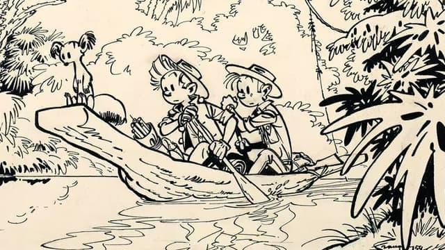 Un dessin de Spirou et Fantasio, par Franquin