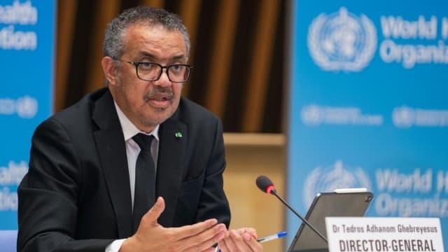 Le directeur général de l'OMS  Tedros Adhanom Ghebreyesus le 12 février 2021 à Genève