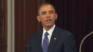 Barack Obama lors de la cérémonie d'hommage aux victimes à Boston, jeudi 18 avril.