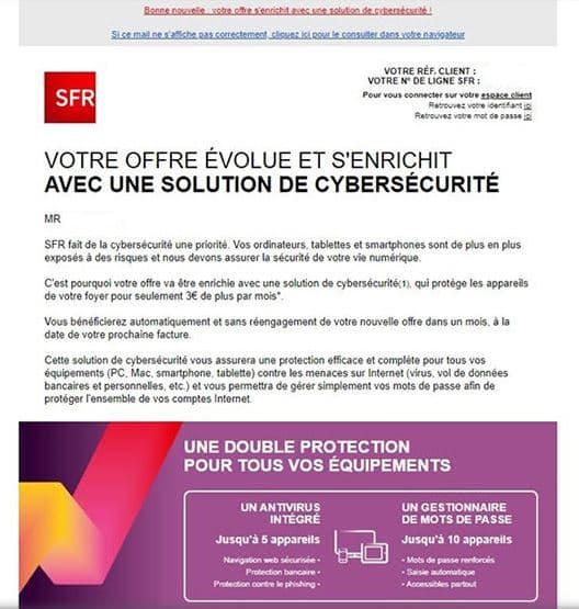 Le mail reçu par certains abonnés SFR.