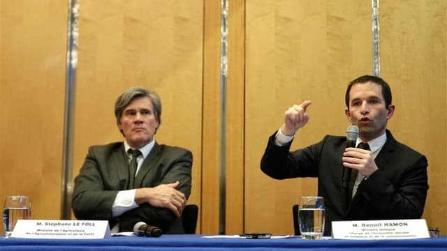 Les ministres de l'Agriculture Stéphane Le Foll (à gauche) et de la Consommation Benoît Hamon, après une réunion de crise lundi à Bercy à la suite de la découverte de la présence de viande de cheval dans des préparations au boeuf. S'il n'est pas possible