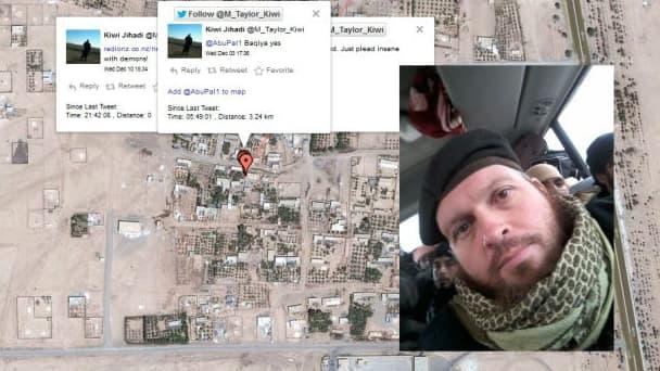 Le jihadiste Mark Taylor a été localisé dans plusieurs villes de Syrie grâce à la géolocalisation.