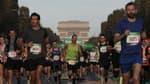 Des coureurs du marathon de Paris, le 17 octobre 2021