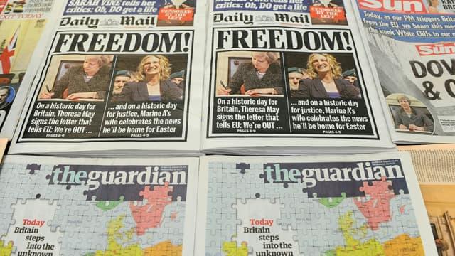 Les unes de la presse britannique, le 29 mars 2017.