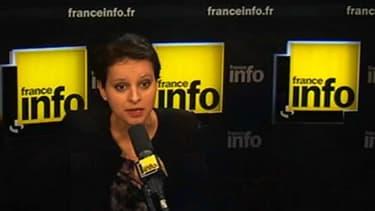 La ministre du Droit des femmes Najat Vallaud-Belkacem au micro de France Infor mardi matin.
