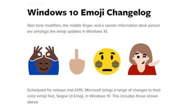 Des exemples des nouveaux emoji qui seront livrés avec Windows 10, d'après Emojipedia.org.