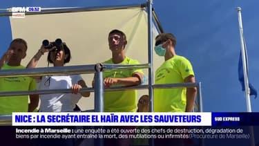 Nice: la secrétaire d'Etat Sarah El Haïry aux côtés des sauveteurs
