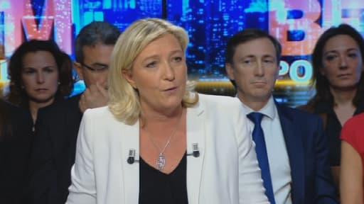 Marine Le Pen sur le plateau de BFMTV dimanche 11 mai