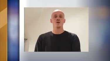 Christophe Dettinger dans sa vidéo d'explication publiée par sa belle-soeur ce lundi sur Facebook.