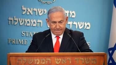 Le Premier ministre israélien Benjamin Netanyahu lors d'un briefing sur l'épidémie de Covid-19 en Israël, à Jérusalem, le 13 septembre 2020