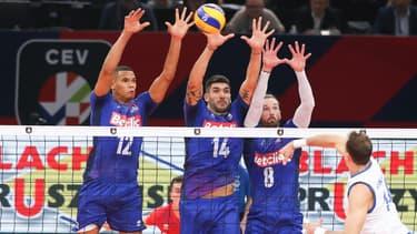 L'équipe de France de volley face à la Serbie, à Paris le 27 septembre 2019