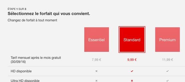Les tarifs de Netflix en France.