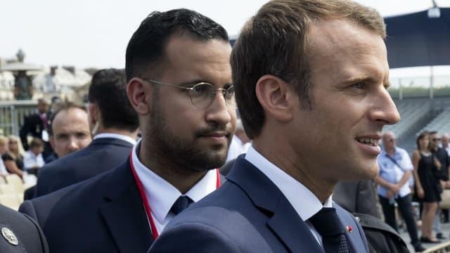 Alexandre Benalla et Emmanuel Macron, le 14 juillet 2018 à Paris