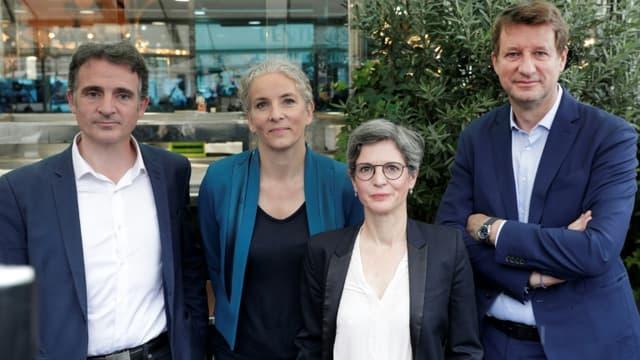 De gauche à droite: Eric Piolle, Delphine Batho, Sandrine Rousseau et Yannick Jadot, à Paris le 12 juillet 2021