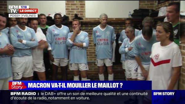 Emmanuel Macron before his match, alongside Arsène Wenger and Marcel Desailly