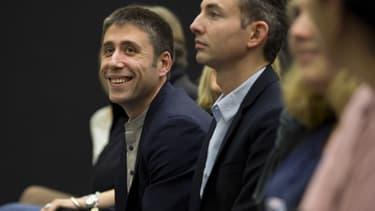 Igor Zamichiei numero un de la fédération PCF de Paris lors d'une conférence de presse dans la capitale le 19 octobre 2013.