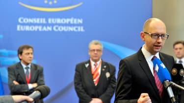 Le Premier ministre ukrainien, Arseni Iatseniouk, à Bruxelles, le 21 mars 2014.