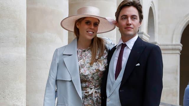 La princesse Béatrice et son fiancé Edoardo Mapelli Mozzi à Paris en octobre 2019.