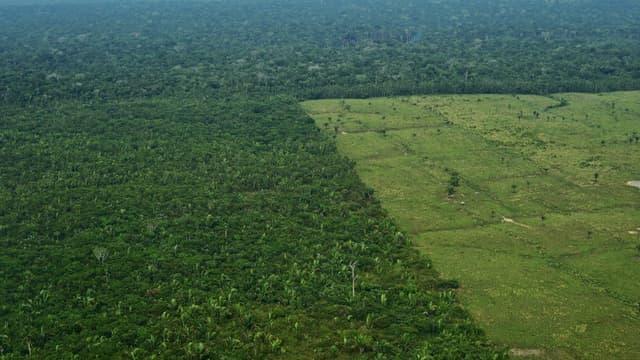 Vue aérienne de la déforestation dans l'Amazonie au Brésil, le 22 septembre 2017 (photo d'illustration)