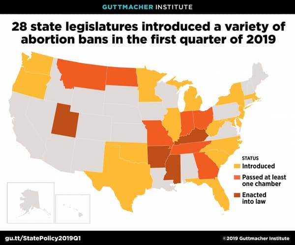 Carte des 28 États américains ayant promulgué des lois durcissant l'avortement lors du premier trimestre 2019.