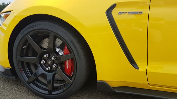 Des étriers de frein rouge et des éléments renforçant l'aérodynamisme viennent souligner le caractère sportif de cette Shelby.