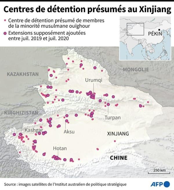 Centres de détention présumés au Xinjiang