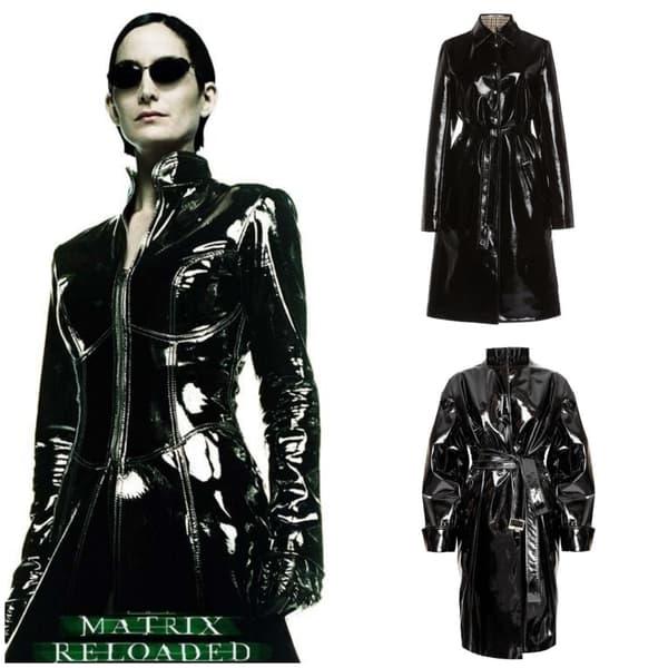 Trinity dans Matrix, manteau Paco Rabanne (haut), manteau Alexandre Vauthier (bas)