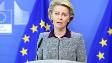 La présidente de la Commission européenne Ursula von der Leyen, lors d'une conférence de presse à Bruxelles le 27 août 2020 sur le Brexit