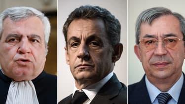 L'avocat Thierry Herzog, l'ancien président Nicolas Sarkozy et le haut fonctionnaire Gilbert Azibert