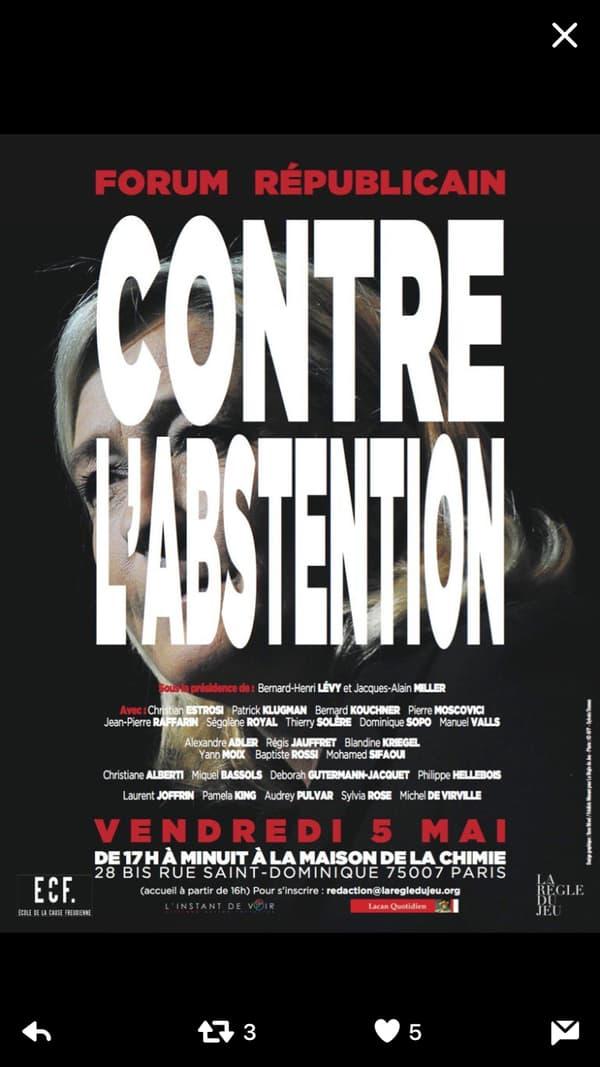 """Affiche du """"Forum républicain contre l'abstention""""."""