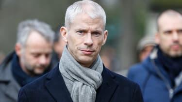 Le ministre de la Culture Franck Riester aux obsèques d'Anna Karina à Paris, le 21 décembre 2019