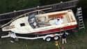Le bateau de David Henneberry, abîmé lors de la confrontation avec le suspect numéro deux des attentas de Boston