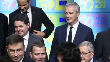 Bruno Le Maire en compagnie des autres ministres des Finances de la zone euro lundi.