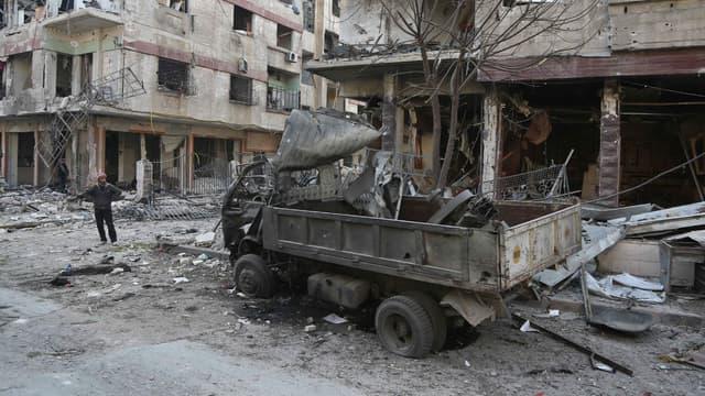 La Ghouta, où les raids aériens du régime syrien se poursuivent,  le 21 février 2018
